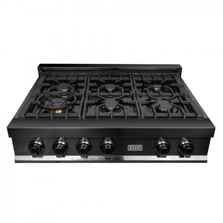 Zline 36 In Porcelain Rangetop In Black Stainless With 6 Gas Burners Rtb 36 Gas Range Top Gas Cooktop Range Top