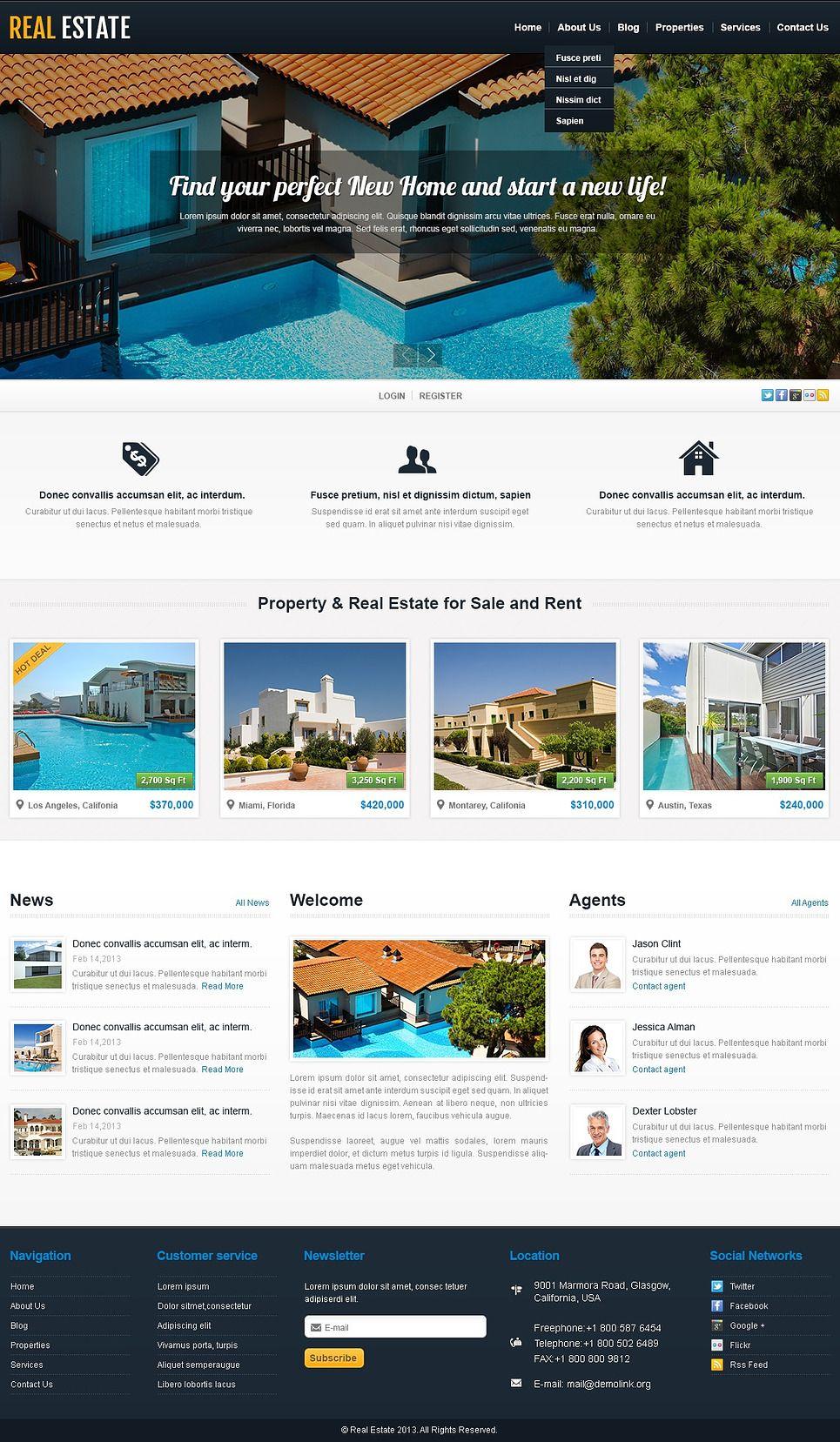 White Real Estate Wordpress Theme 44205 Real Estate Property Real Estate Wordpress Theme