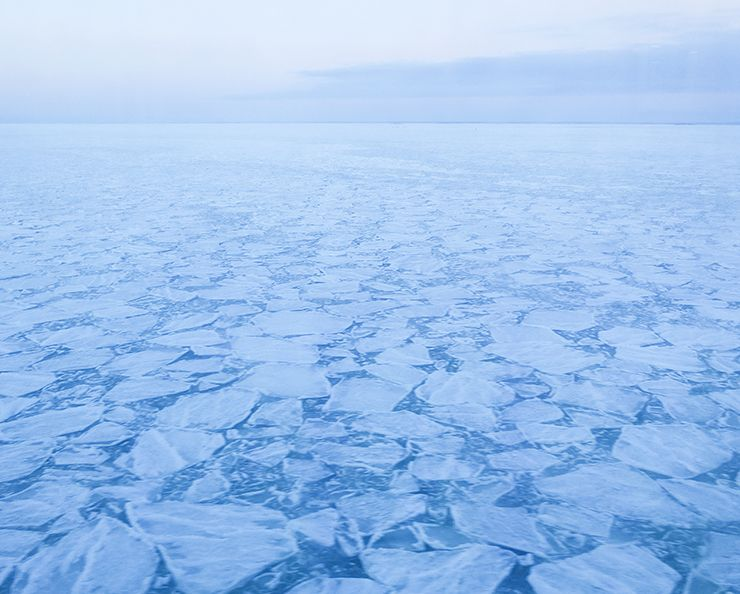 Baltic Sea on February. Fragmented ice.