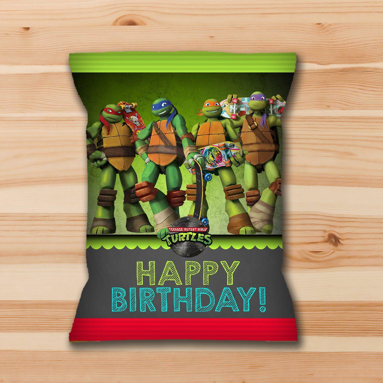 Teenage Mutant Ninja Turtles Chip Bag Label Green Ninja Etsy Ninja Turtle Birthday Tmnt Birthday Party Ideas Turtle Birthday Invitations