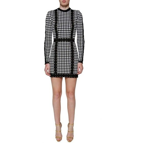 d4ca615f Balmain Checkered Stretch Knit Mini Dress ($2,660) ❤ liked on Polyvore  featuring dresses, checkered dress, short white dresses, balmain, white mini  dress ...