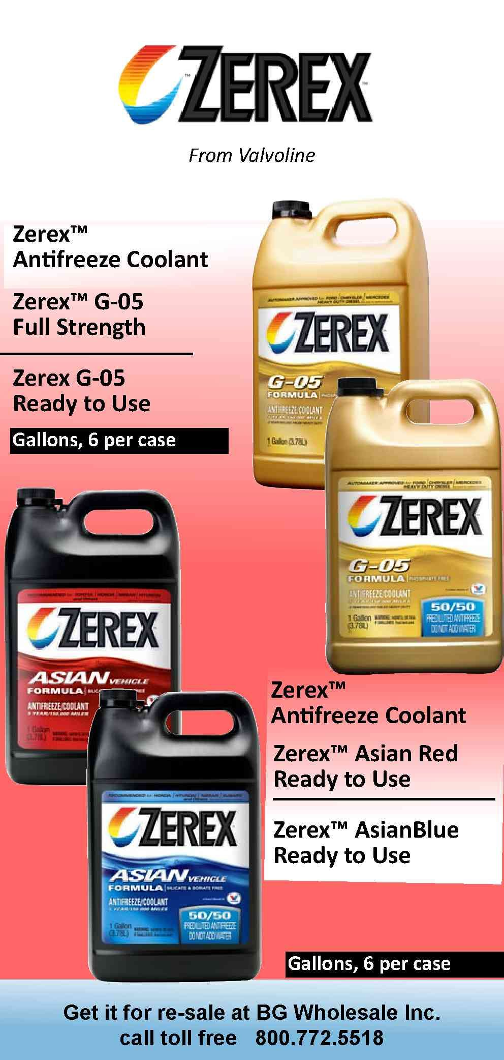 Zerex Antifreeze by Valvoline  G-05 full strength, and 50/50