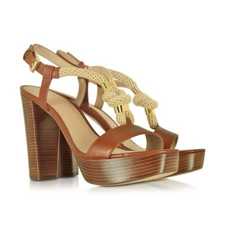 Soldes Sandales Michael Kors Holly, sandales à talons en corde tressée et cuir Marron prix Soldes Sandales Forzieri 122.50 € TTC au lieu de 176 €