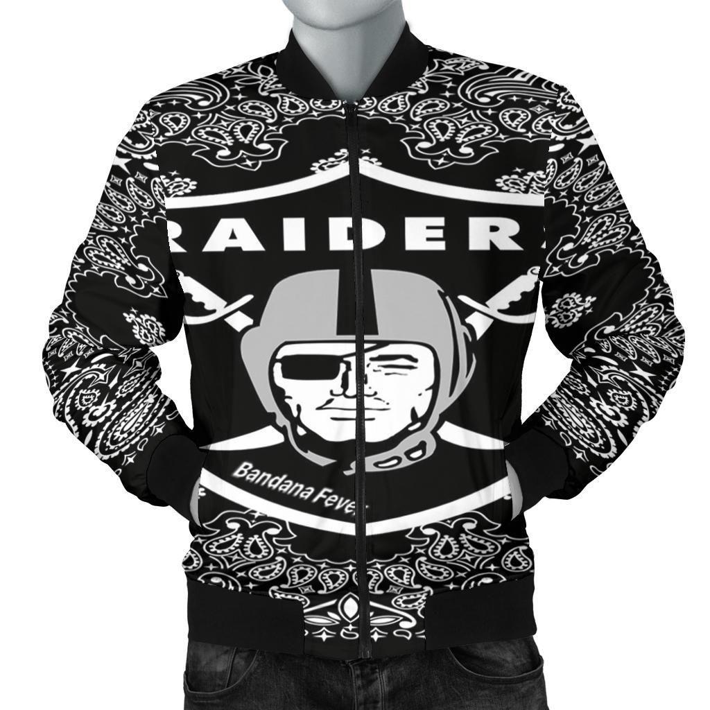 Custom Men's Bomber Jacket Oakland Raiders Black Bandana
