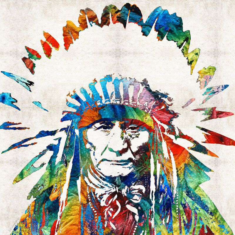 Colorful native american art print from painting primary