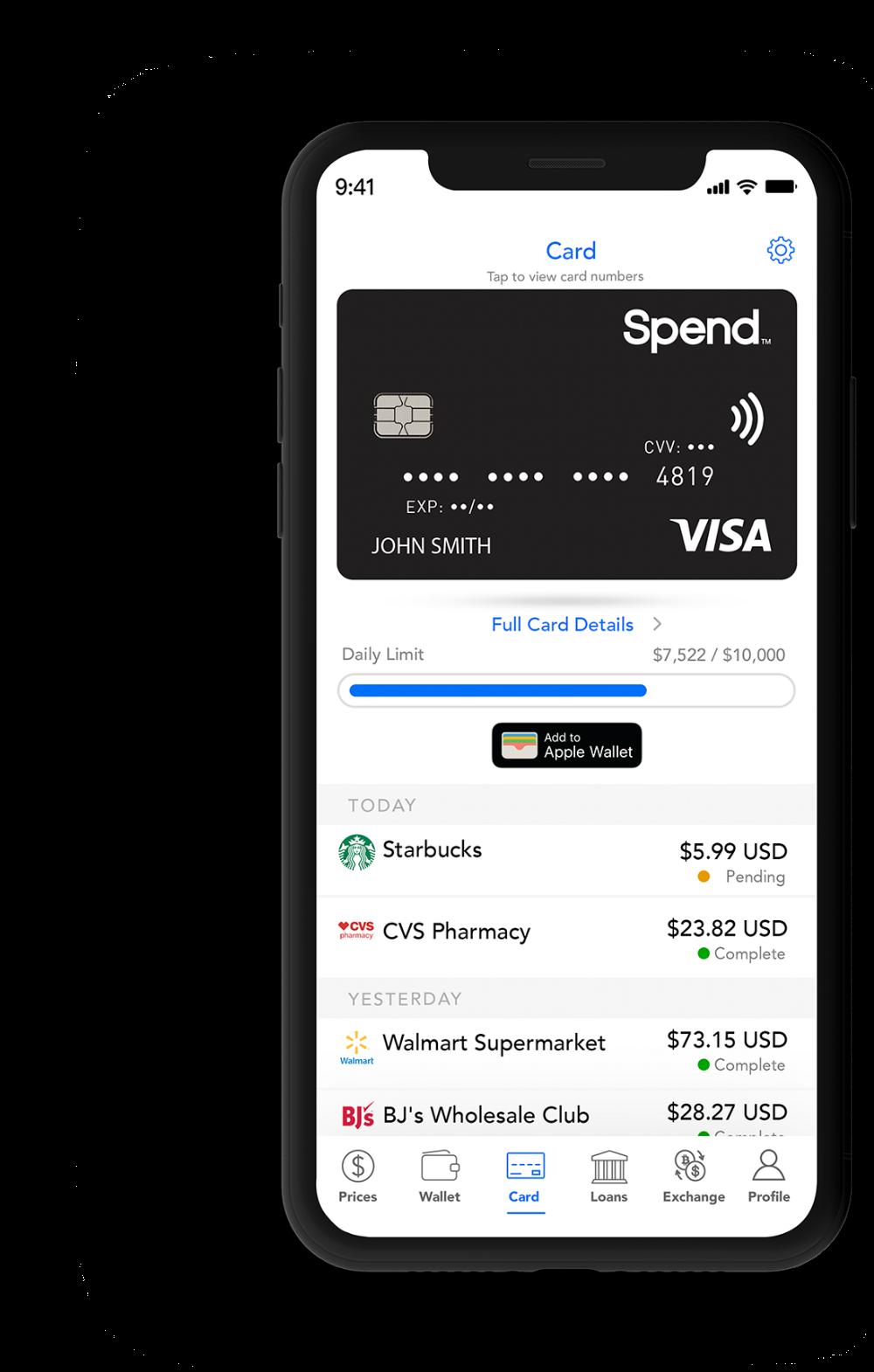Spend Wallet Spend Visa Card Spend Com Visa Card Credit Card Design Apple Gift Card