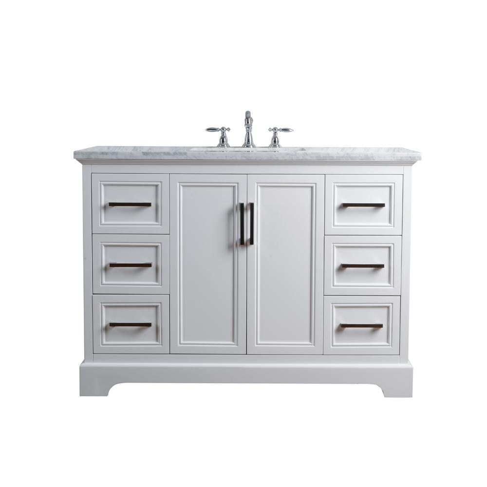 d902cd2dc1e Silkroad Exclusive 48 in. W x 22 in. D Vanity in White with Marble Vanity  Top in Carrara White with White Basin-V0315WW48D - The Home Depot