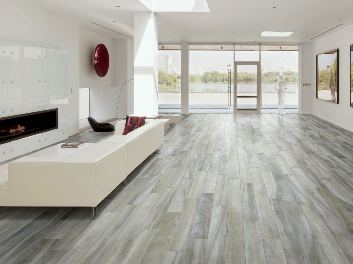 Happy floors hickory fog 6 x 36 porcelain wood look tile for Tile and hardwood floor