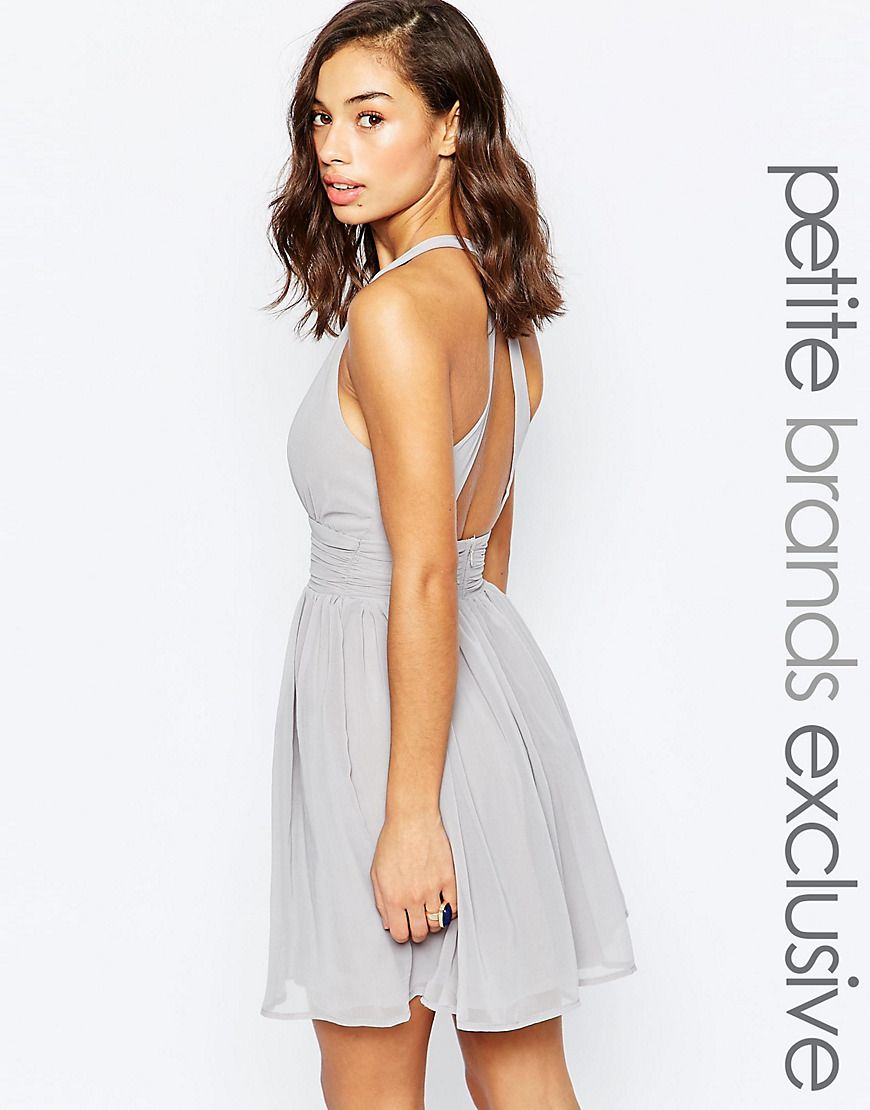True Decadence Petite Plunge Front Open Back Prom Dress at asos