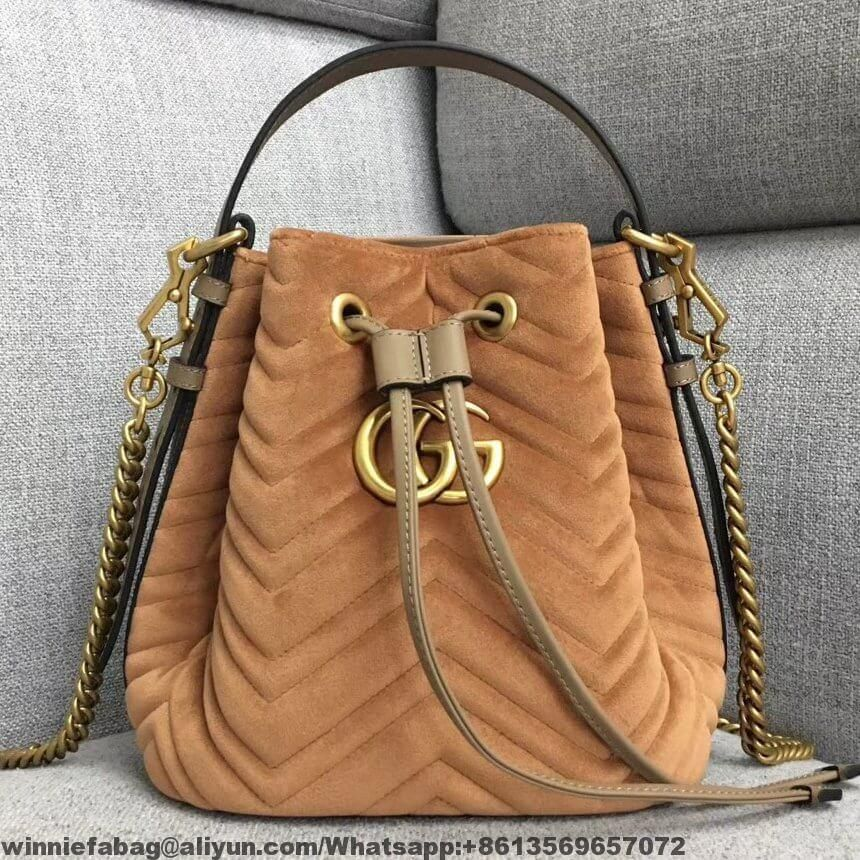 adfbe2aee33 Gucci GG Marmont Quilted Velvet Bucket Bag