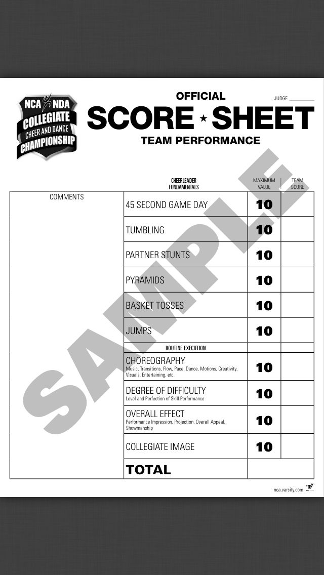 Nca Score Sheets Nationals  Cheer    Scores