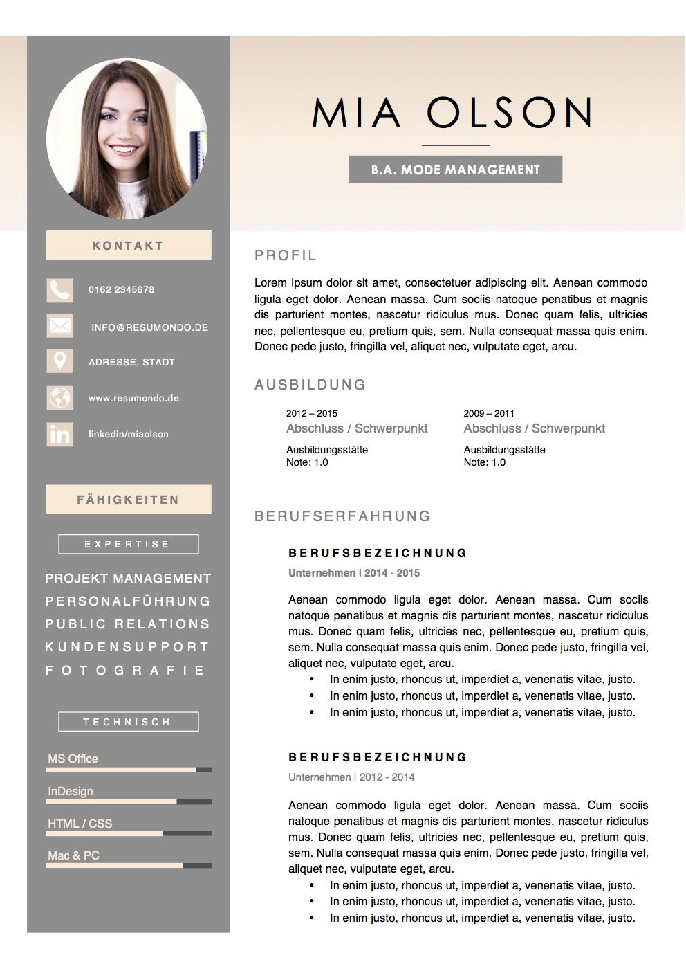 Stockholm  Resumondo Mix Models  Resume  Cv Template