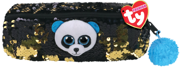 2019 TY Flippables Sequins 8″ Bamboo the Panda Fashion Pencil Bag
