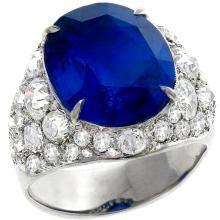 sapphire diamond 14k white gold ring cocktail