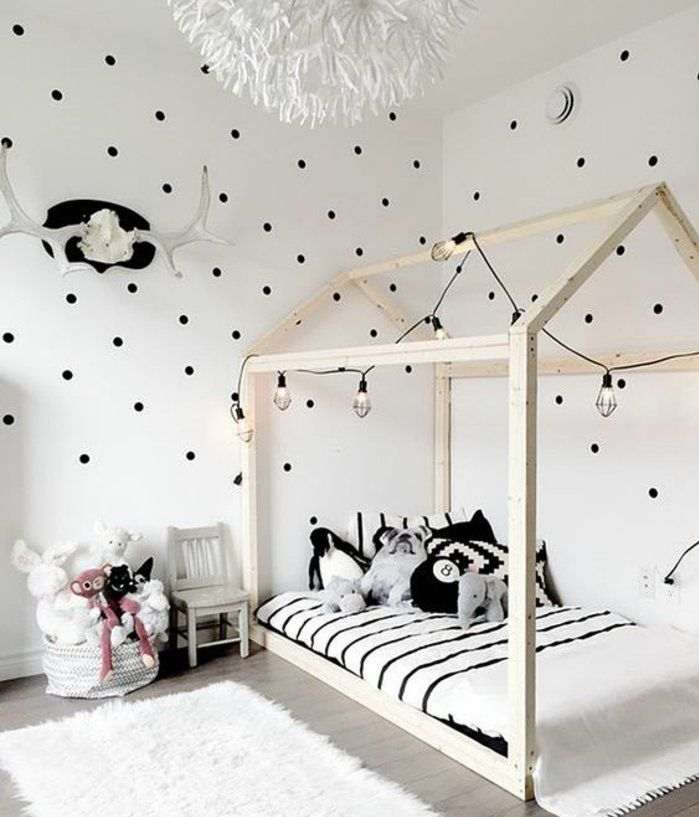 Chambre Montessori Style Scandinave Couleur Mur Blanc Point Noirs