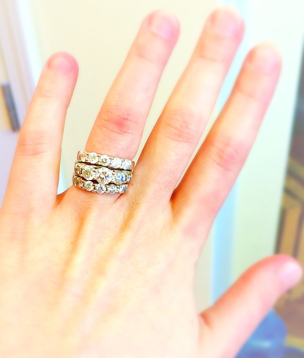 My Rings Are Complete 3 Stone Engagement Ring 2 5 Carats Total Weight With Side Stones On Shoulder Halo Style Rings 3 Stone Engagement Rings Stone Engagement