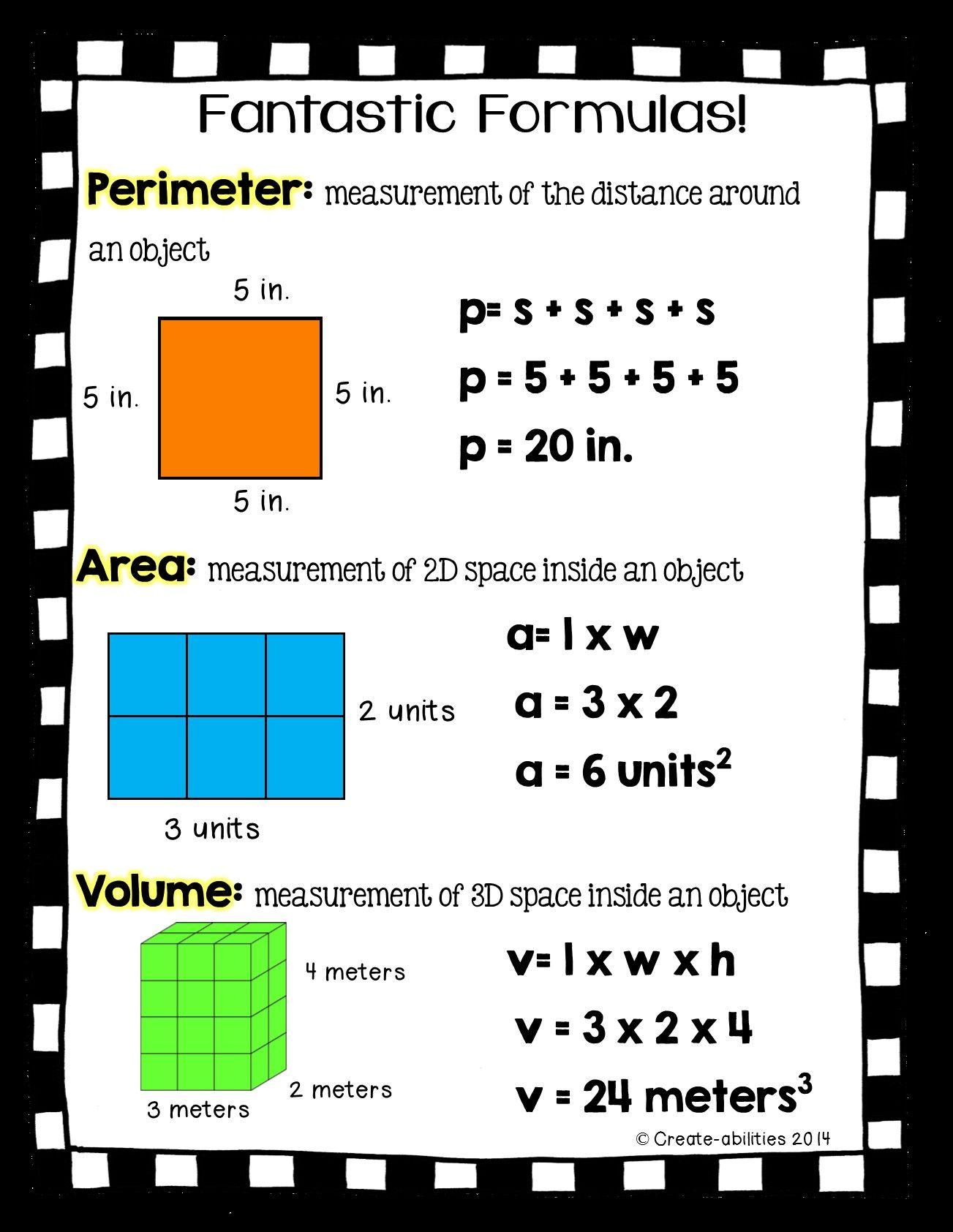 Perimeter Area Volume Formulas
