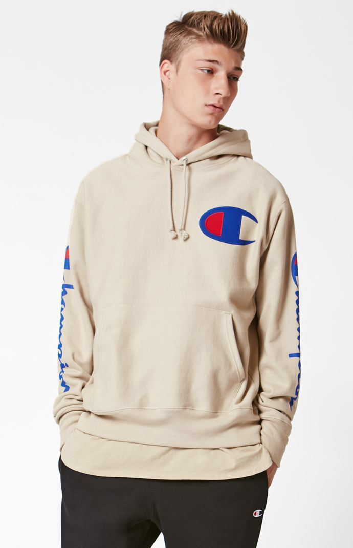 Hooked on Reverse Weave Tan Pullover Hoodie that I found on the PacSun App 9fdb41ea3b83