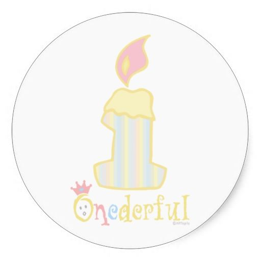 ONEderful Yellow Candle Sticker