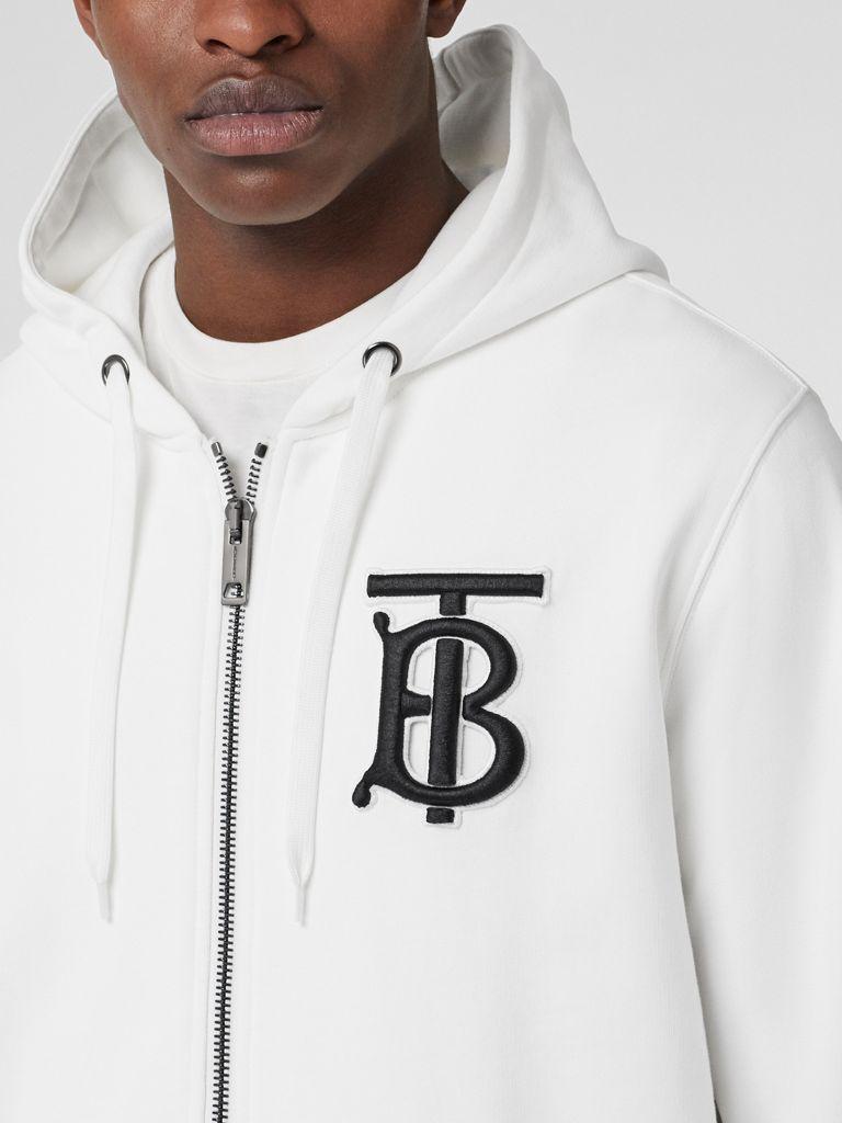Monogram Motif Cotton Hooded Top In White Men Burberry Mens Sweatshirts Hoodie Fashion Suits For Men Mens Sweatshirts [ 1024 x 768 Pixel ]