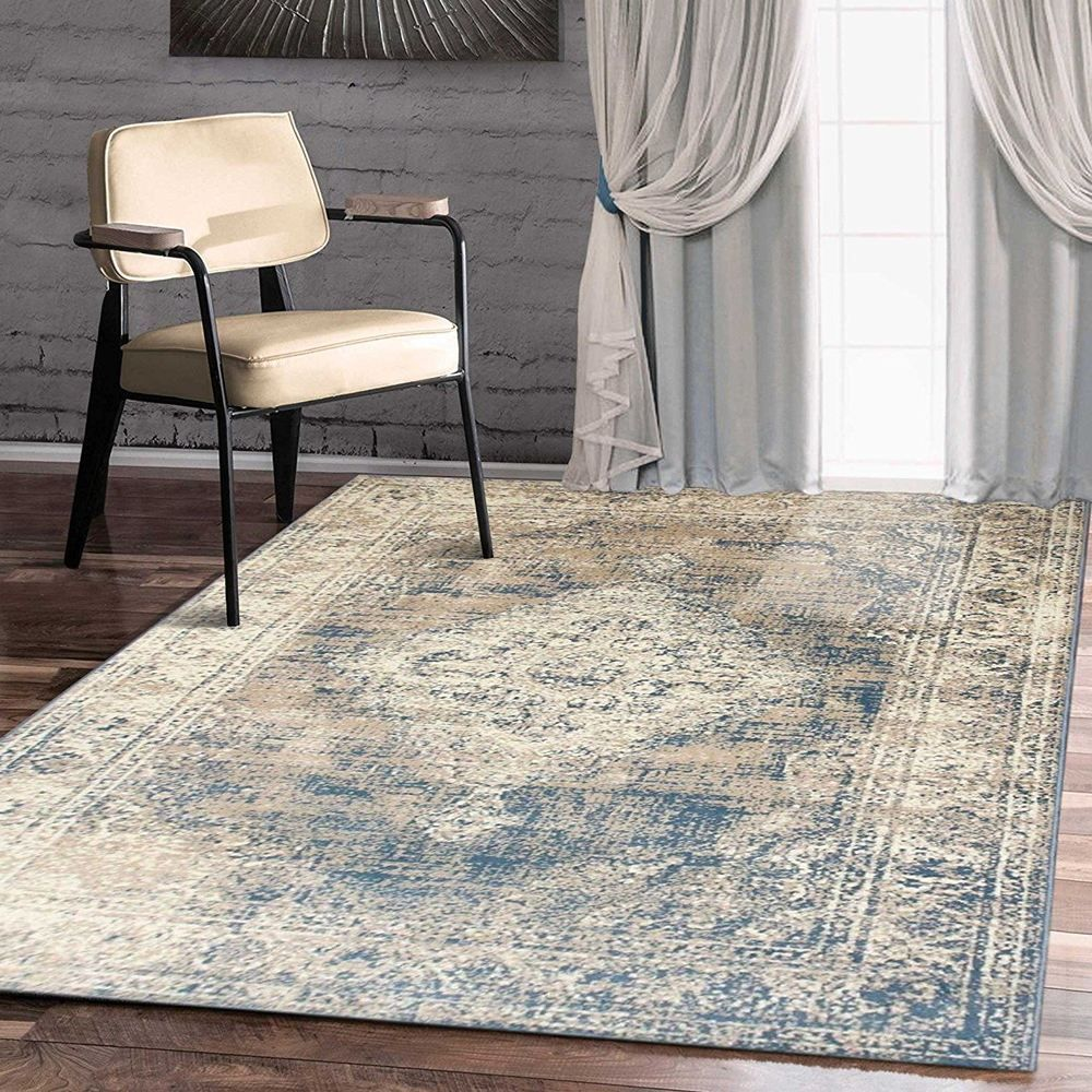 Traditional Vintage Style Persian Rug Design Oriental Faded Blue Carpet Navy Blue Rug Silver Grey Rug Area Rugs