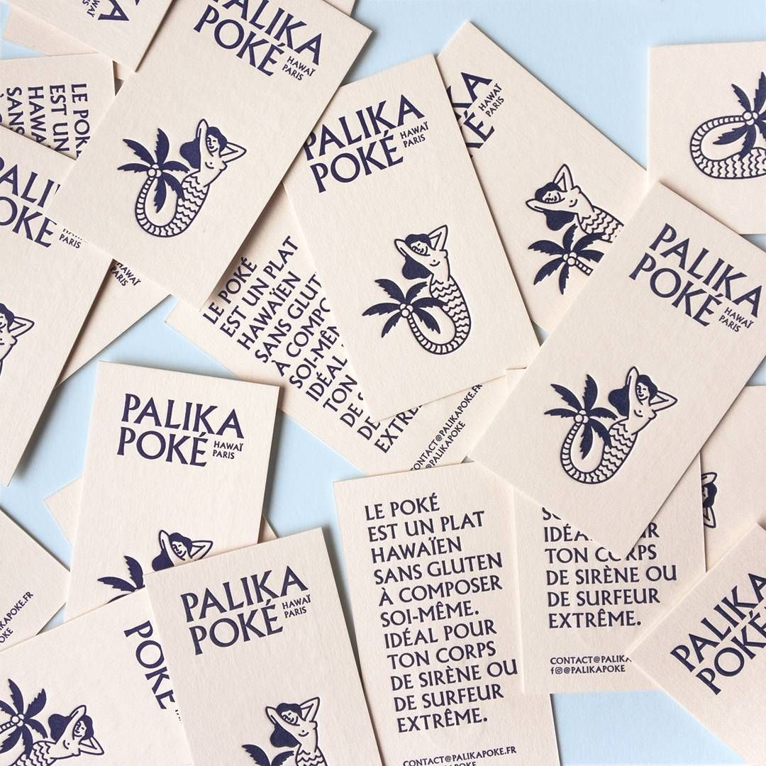 La Vague Hawaienne Arrive A Paris Cartes De Visite Du Restaurant Palikapoke Concues Par Thomas Weil Studiofurious Et Impression Letterpress Sur