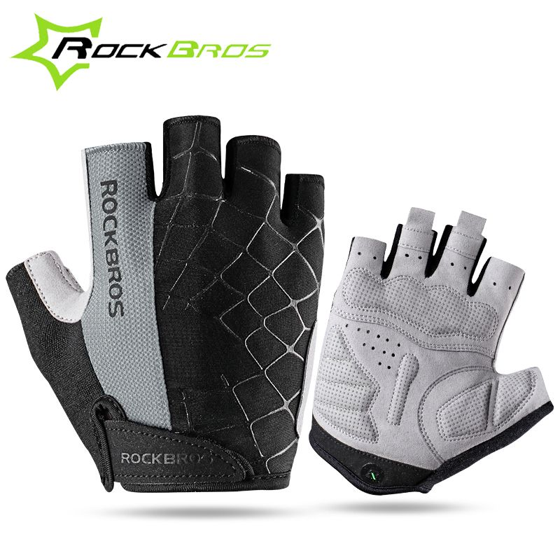 RockBros Half Finger Cycling Shockproof Breathable Riding Gloves Black White