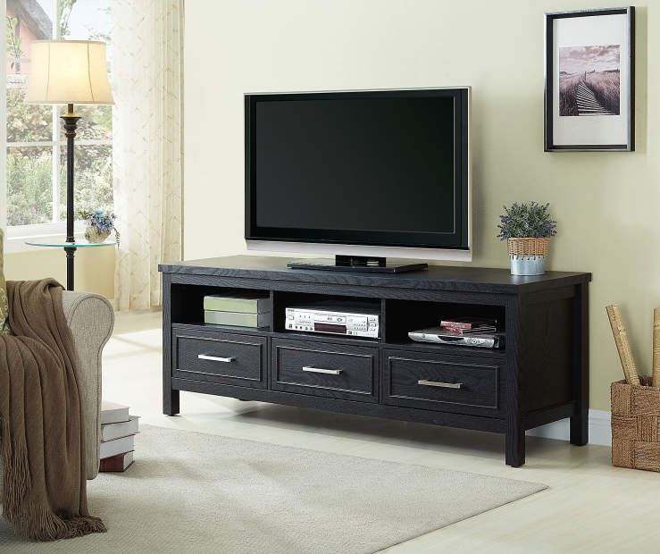 Just Home Black 3 Drawer Melamine Tv Stand Big Lots Home