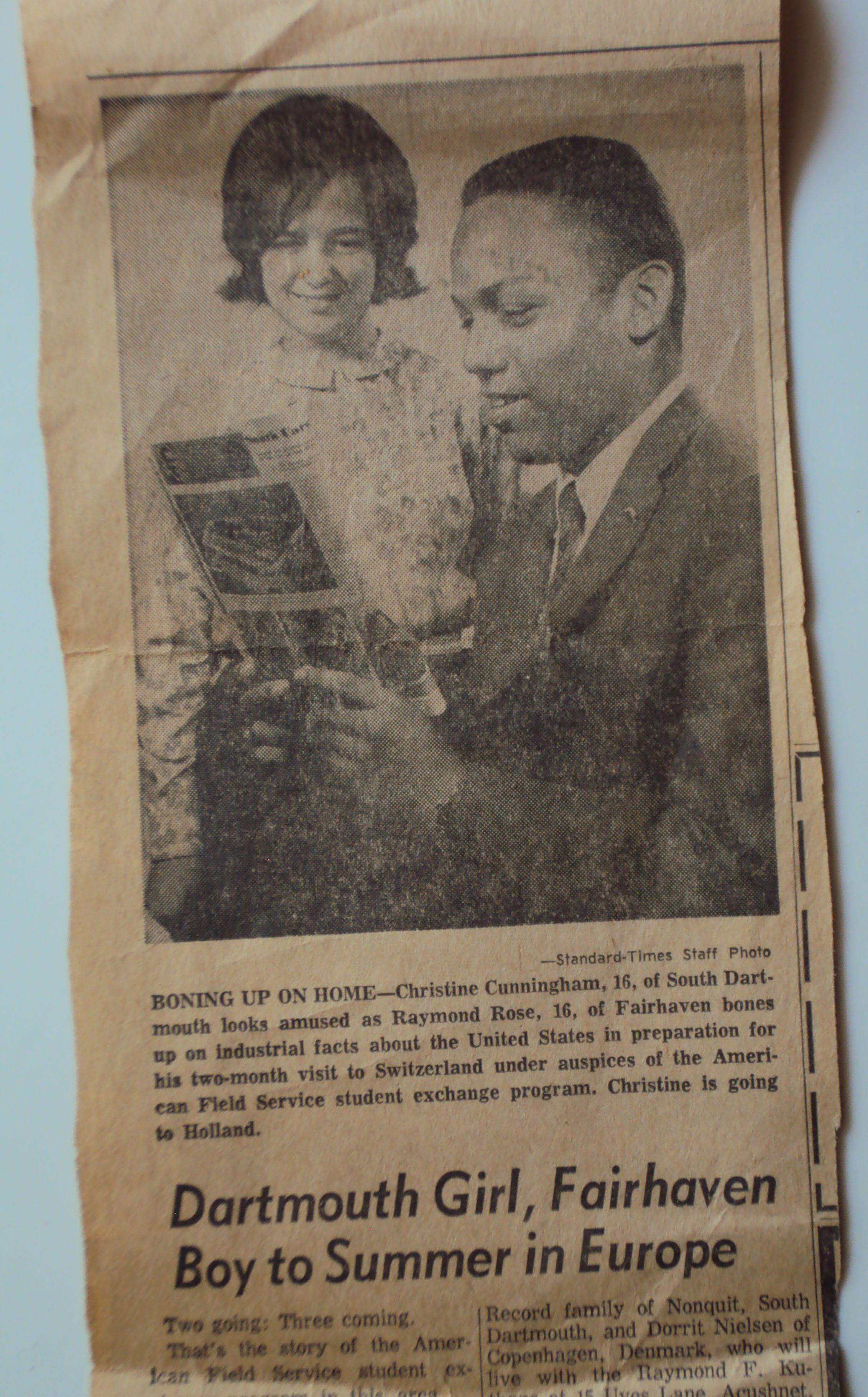 American Field Service Student Exchange Program.  1960s.  South Dartmouth, Massachusetts, Christine Cunningham.
