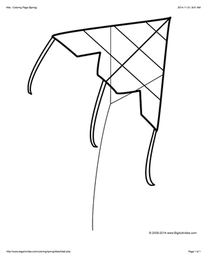 Coloring Page With A Large Kite To Color