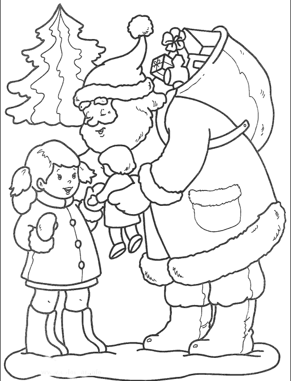 Santa Claus Gives Gifts To Young Children In Christmas Coloring Pages