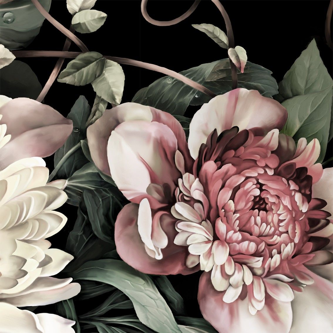 Black floral print wallpaper dark floral wallpaper by ellie cashman - Dark Floral Ii Black Saturated Floral Wallpaper By Ellie Cashman Design