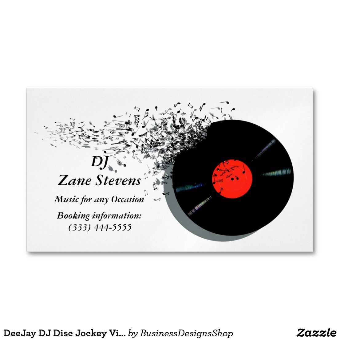 DeeJay DJ Disc Jockey Vinyl Record Business Card Magnet
