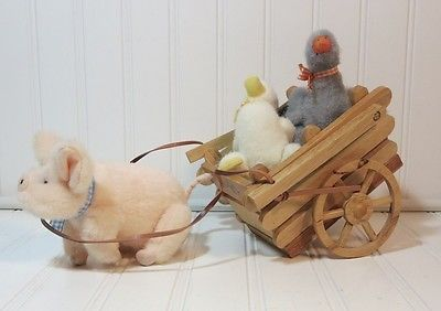 *Muffy vanderBear ~ Wooden pull cart Down on the Farm