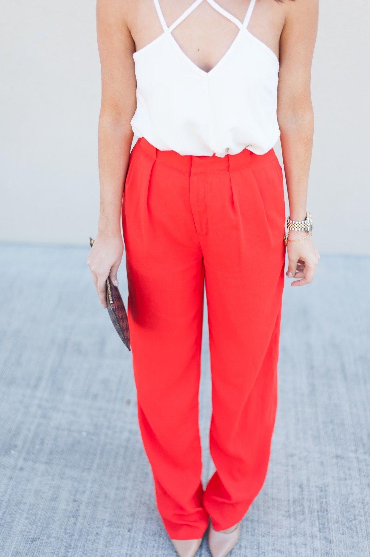 Dress Up Buttercup | Houston Fashion Blog - Dede Raad | Red Wide Leg Criss Cross Tank