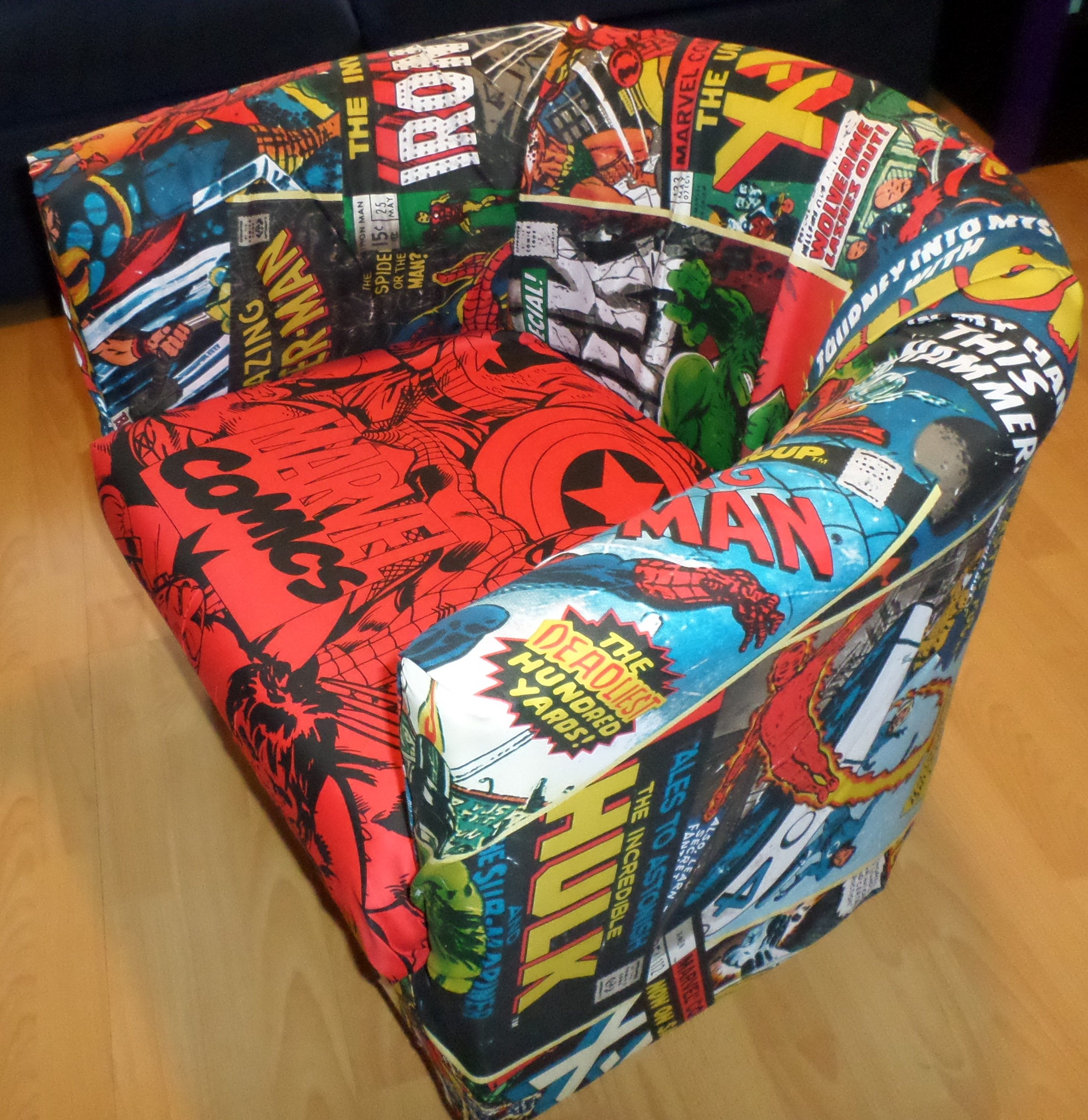 My Ikea Tub Chair, Marvel Comics Material And A Staple Gun! Great Fun To