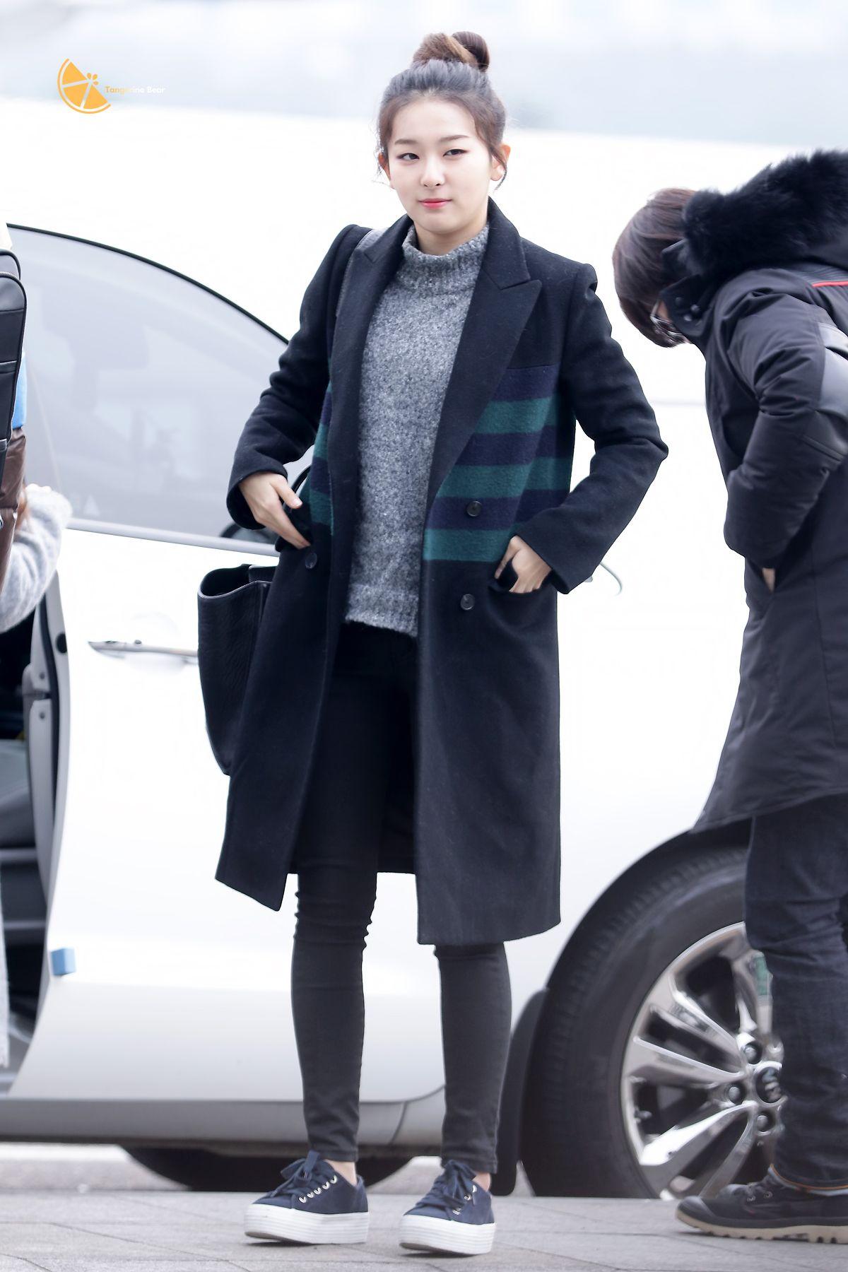 Red Velvet Seulgi Airport Fashion 150114 2015 Kpop Wanita Gadis Ulzzang Hitam