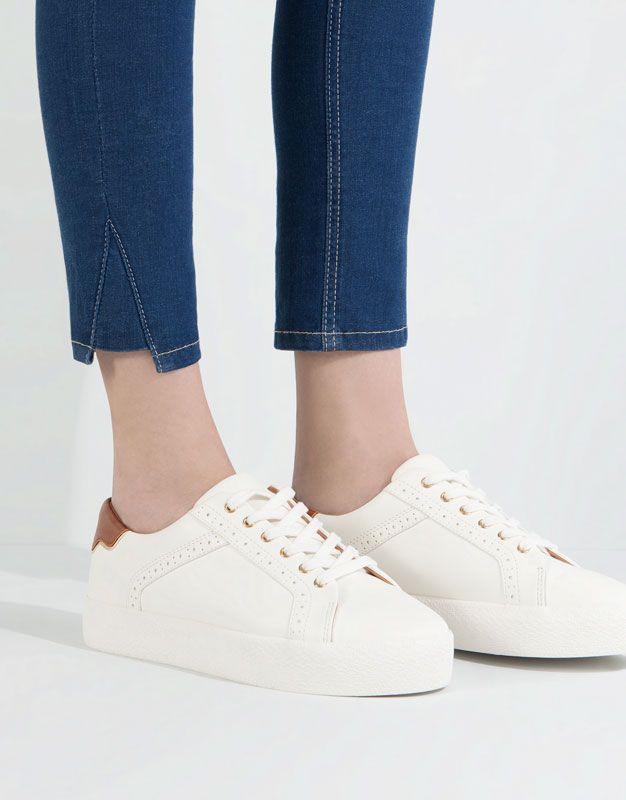 Pull Bear - woman - women s shoes - block plimsolls with pinking detail -  white - 11570111-I2016 212100c840a
