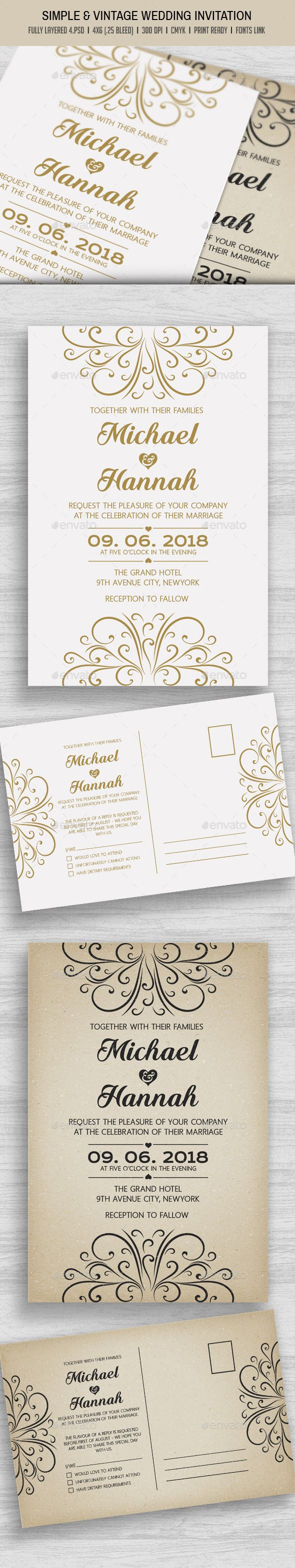 Simple vintage wedding invitation stopboris Image collections