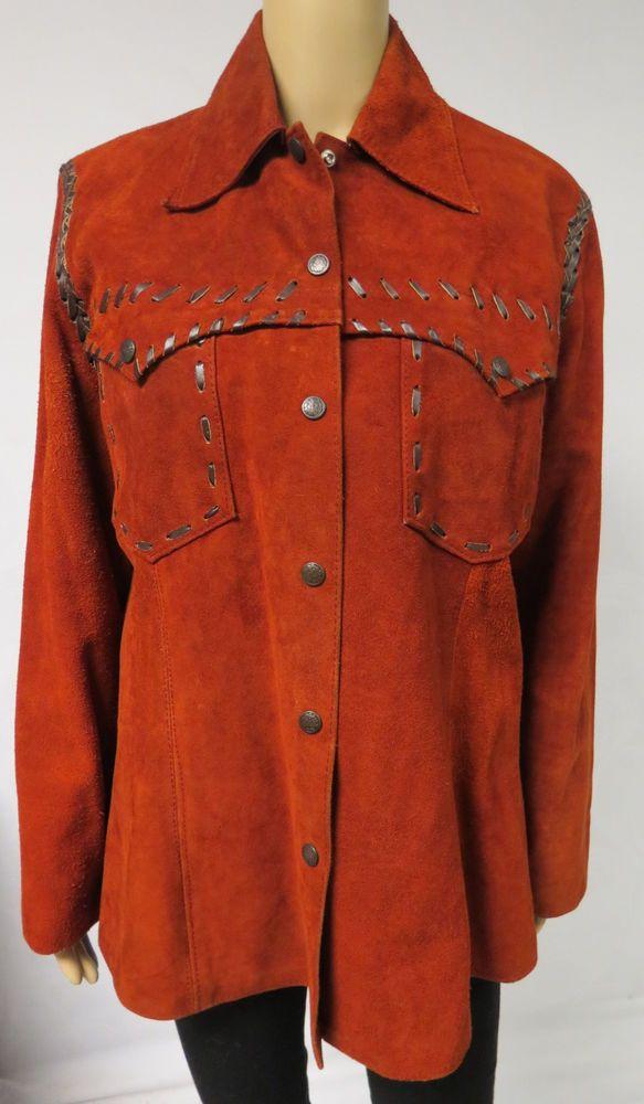 Vintage 70s Suede Leather Jacket Sherwin Sheyenne Rust Western Hippie Mens