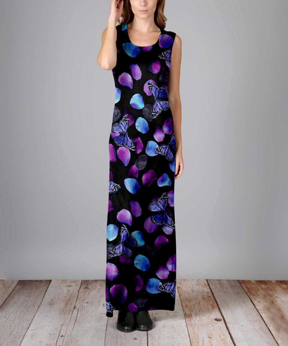 Look what I found on #zulily! Black & Purple Butterfly Maxi Dress by Aster #zulilyfinds