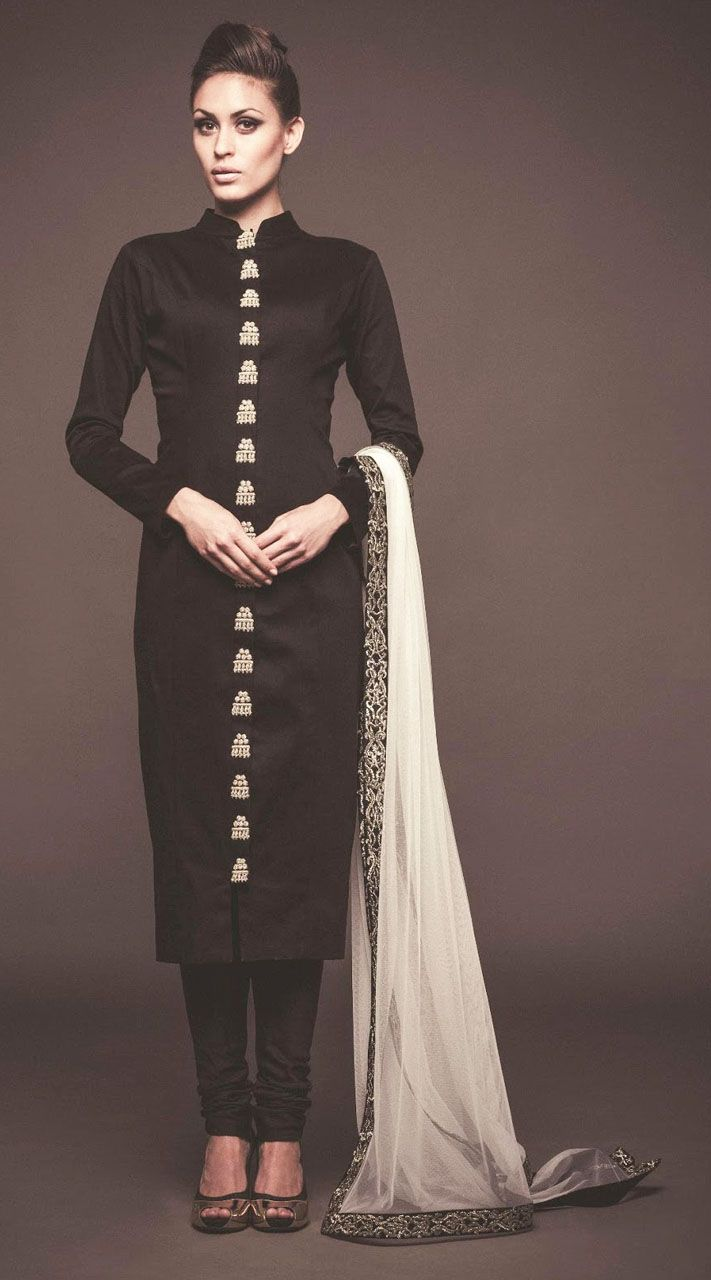 Exclusive Black Raw Silk And Net Exclusive Straight Fit Kameez ...