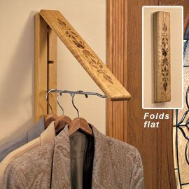 Instahanger Wood Folding Wall Coat And Clothes Hanger