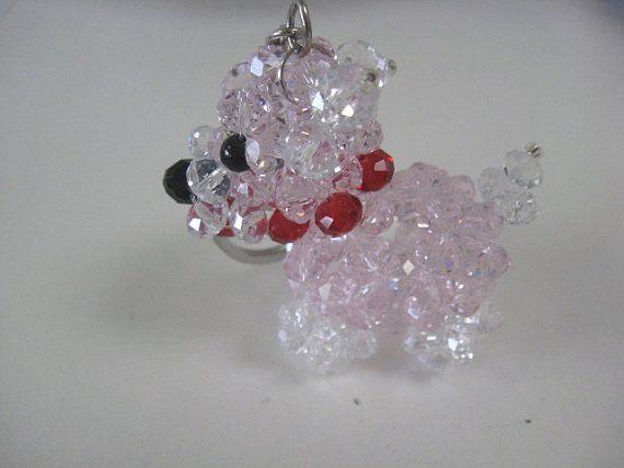 Large Pink Crystal Dog Charm / Figurine with Metal by CrystalGirlz, $30.00
