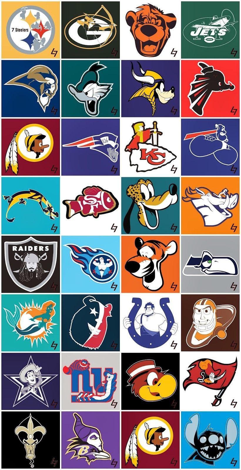 Disney NFL Team Mashups DisneySide Nfl logo, Nfl funny