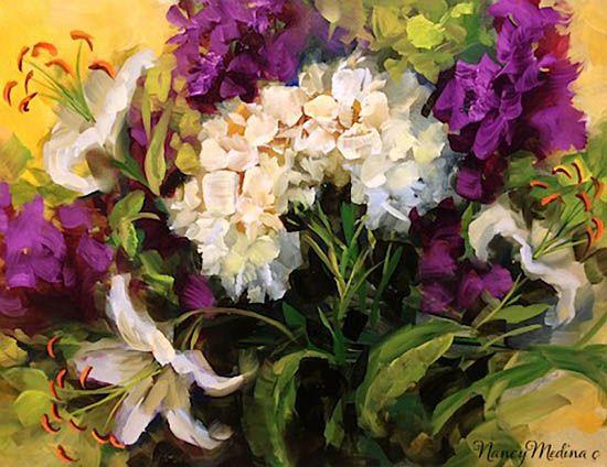 Surropunded by Love White Hydrangeas by Nancy Medina, American flower artist