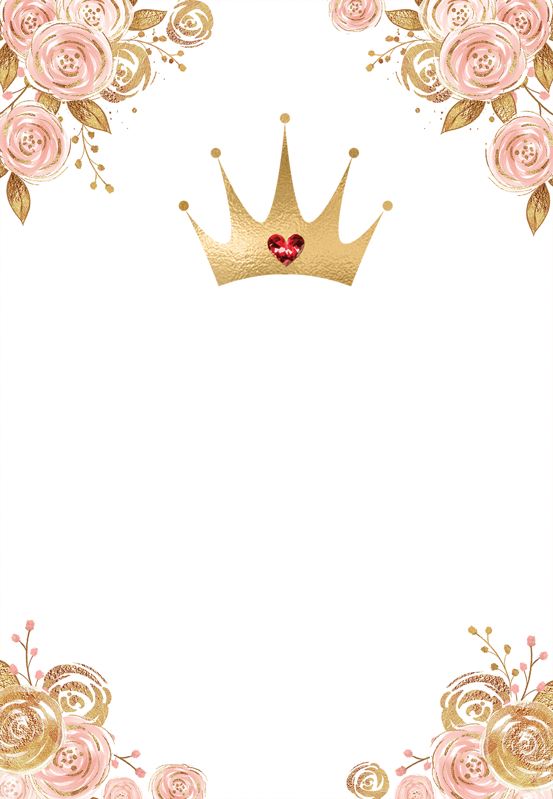 Pink & Gold Floral Princess - Birthday Invitation Template