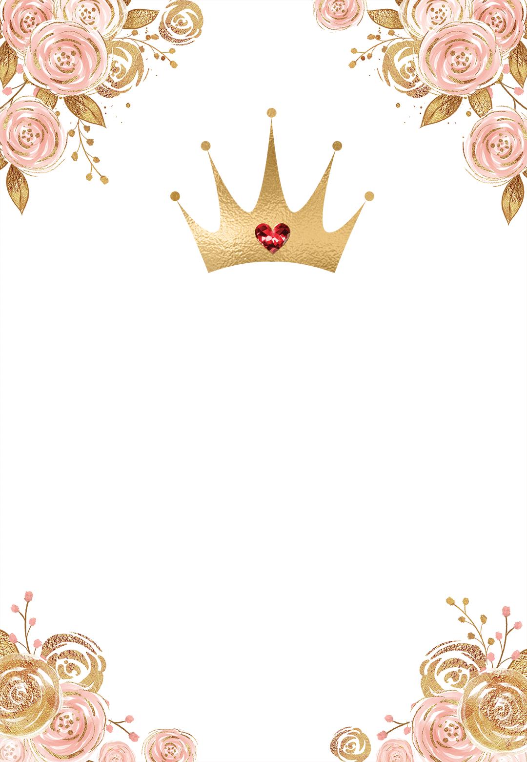 pink gold floral princess birthday