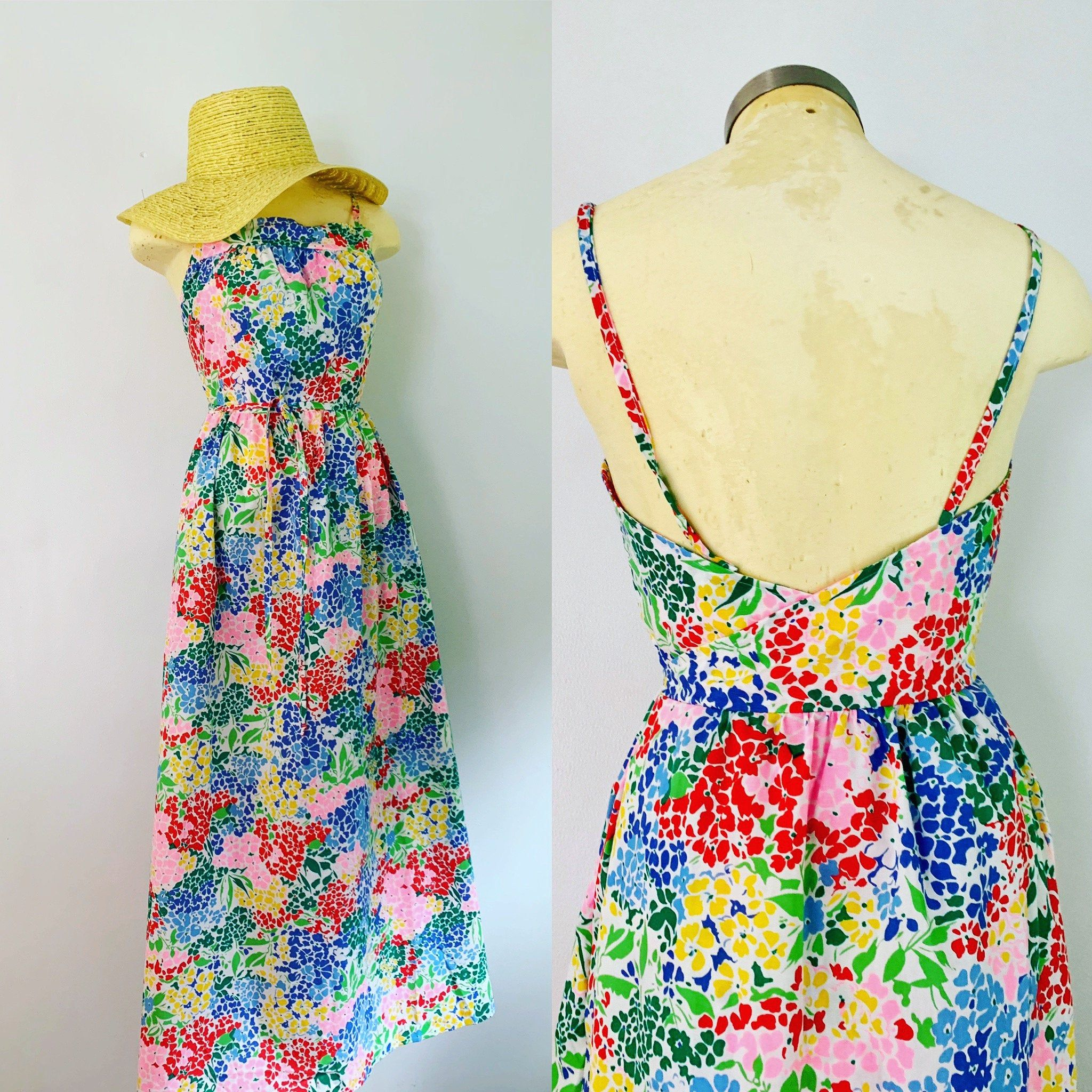 1960s 1970s Summer Wrap Maxi Dress Mid Century Bright Floral Wraparound Pocketed Frock Size Small Medium Maxi Wrap Dress