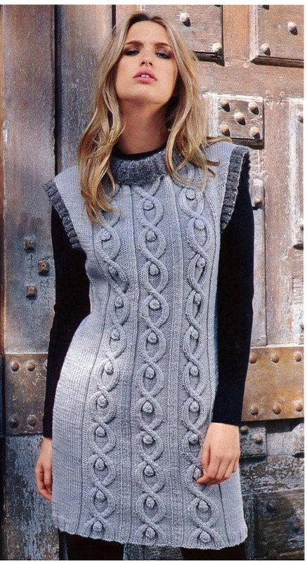Hand Knit Women Tunic dress sweater coat jacket women made to order hand  knitted women's dress